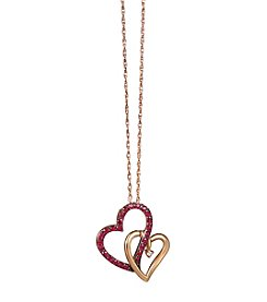 .015 Ct. T.W. Diamond And Ruby Heart Pendant In 14k Rose Gold