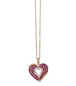 14k Rose Gold Glass-Filled Ruby And 0.11 Ct. T.W. Diamond Heart Pendant