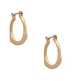 Erica Lyons® Goldtone Small Square Edge Hoop Pierced Earrings