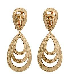 Erica Lyons® Goldtone Drop Layered Loop Clip Earrings