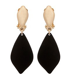 Erica Lyons® Goldtone Drop Soft Diamond Clip Earrings