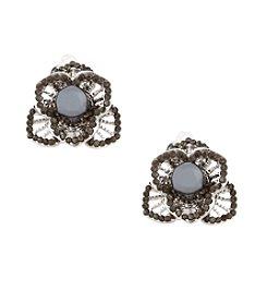 Erica Lyons® Silvertone 3D Flower Clip Earrings