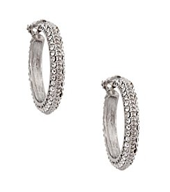 Erica Lyons® Silvertone Clip Hoop Earrings with Crystal Accents
