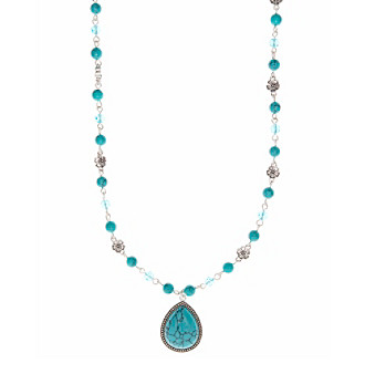 Nine West Vintage America Collection® Silvertone and Turquoise Long Beaded Pendant Necklace plus size,  plus size fashion plus size appare