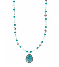 Nine West Vintage America Collection® Silvertone and Turquoise Long Beaded Pendant Necklace