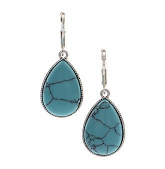 Nine West Vintage America Collection® Silvertone and Turquoise Large Teardrop Earrings plus size,  plus size fashion plus size appare