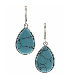 Nine West Vintage America Collection® Silvertone and Turquoise Large Teardrop Earrings