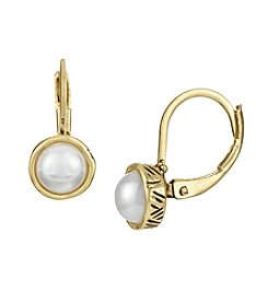 The Sak® Goldtone Simulated Pearl Leverback Earrings