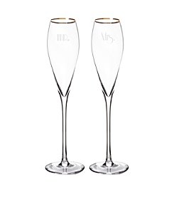 Cathy's Concepts Set of 2 Mr. & Mrs. Gatsby 7-oz. Gold Rim Champagne Flutes