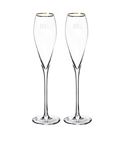 Cathy's Concepts Set of 2 Mr. & Mr. Gatsby 7-oz. Gold Rim Champagne Flutes
