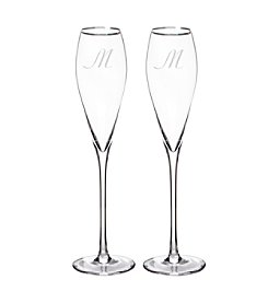 Cathy's Concepts Set of 2 Personalized 7-oz. Silver Rim Champagne Flutes