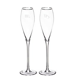 Cathy's Concepts Set of 2 Mr. & Mrs. Gatsby 7-oz. Silver Rim Champagne Flutes