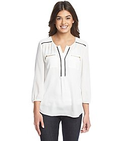 Sequin Hearts® Zipper Utility Shirt