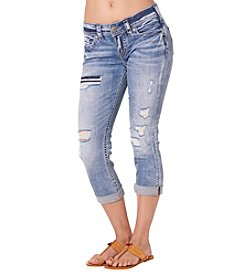 Silver Jeans Co. Suki Destructed Acid Wash Capri