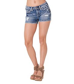 Silver Jeans Co. Aiko Mid Rise Destructed Shorts