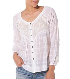 Silver Jeans Co. Embroidered Peasant Top