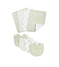 Trend Lab Sea Foam 8-Pc. Bib and Burp Cloth Set