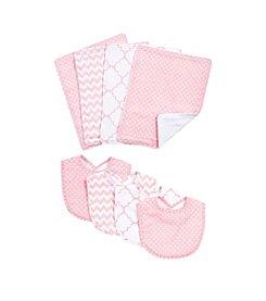 Trend Lab Pink Sky 8-pc. Bib and Burp Cloth Set