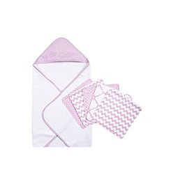 Trend Lab Orchid Bloom 6-pc. Dot Hooded Towel and Wash Cloth Set