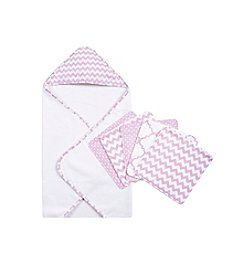 Trend Lab Orchid Bloom 6-pc. Chevron Hooded Towel and Wash Cloth Set