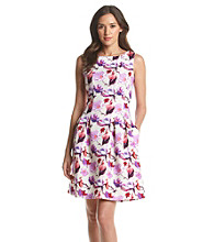Julian Taylor Floral Fit And Flare Scuba Dress
