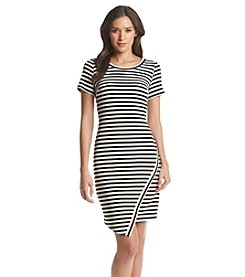 Calvin Klein Asymmetric Stripe Sheath Dress
