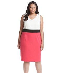 Kasper® Plus Size Color Block Crepe Dress