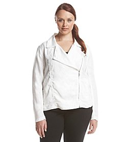 Calvin Klein Performance Plus Size Ribbed Moto Jacket