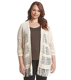 Chelsea & Theodore® Plus Size Crochet Cardigan With Fringe
