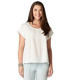 Democracy Mixed Eyelet Top