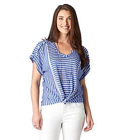 Democracy Striped Tie-Front Tee