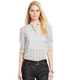 Lauren Ralph Lauren® Striped Bib-Front Cotton Shirt