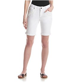Earl Jean® Cuffed Bermuda Shorts With Lace Detail