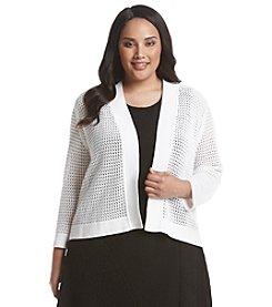 Kasper® Plus Size Crochet Cardigan