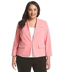 Nine West® Plus Size Solid Kiss Front Jacket