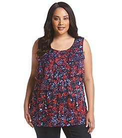 Relativity® Plus Size Printed Tiered Tank
