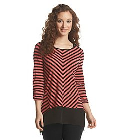 Notations® Stripe Sharkbite Chiffon Top