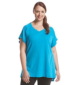 Exertek® Plus Size Short Sleeve Slub Tunic