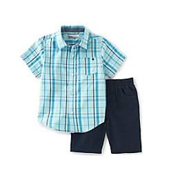 Kids Headquarters® Baby Boys' Plaid Shirt And Twill Short Set