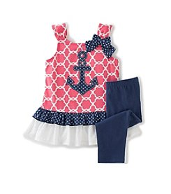 Kids Headquarters® Baby Girls' Nautical Top and Leggings Set