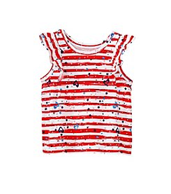 mix&MATCH Baby Girls' Patriotic Splatter Printed and Striped Flutter Sleeve Tank