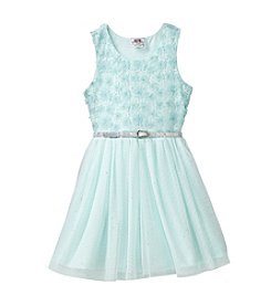 Beautees Girls' 2T-6X Floral Sequin And Belted Dress