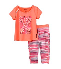 Reebok® Girls' 2T-6X Logo Printed Tee And Patterned Leggings Active Set