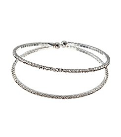 BT-Jeweled Clear Simulated Crystal And Silvertone Two Row Cuff Bracelet