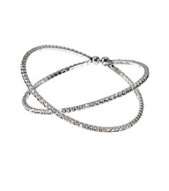 BT-Jeweled Clear Crystal And Silvertone Cross Over Cuff Bracelet