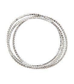 BT-Jeweled Clear Crystal And  Silvertone  Set Of Three Stretch Bracelets