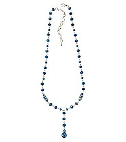 BT-Jeweled Blue Metallic And Palladium Beaded Necklace