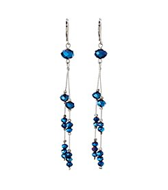 BT-Jeweled Blue Metallic And Palladium Beaded Earrings