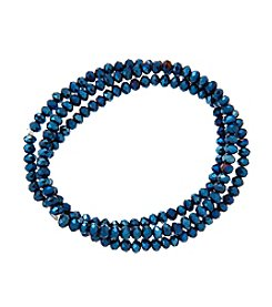 BT-Jeweled Blue Metallic And Palladium Beaded Bracelets