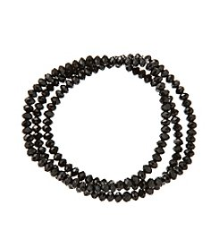 BT-Jeweled Black And Hematite Beaded Bracelets